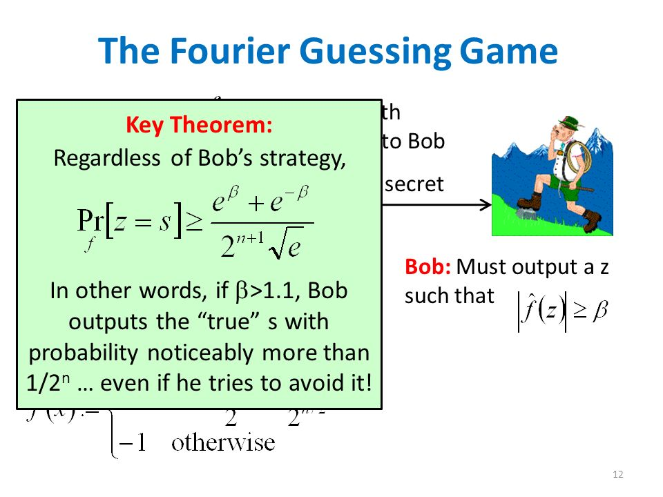 Alice: Chooses s {0,1} n and b {0,1} uniformly at random 12 The Fourier Guessing Game For each x {0,1} n, sets Bob: Must output a z such that Sends truth table of f to Bob Keeps s,b secret Key Theorem: Regardless of Bobs strategy, In other words, if >1.1, Bob outputs the true s with probability noticeably more than 1/2 n … even if he tries to avoid it!