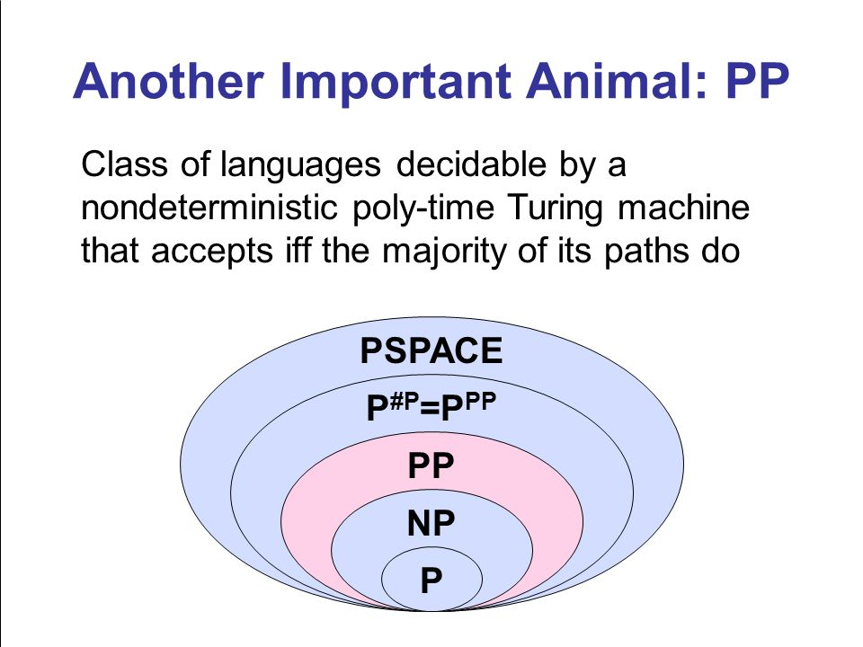 Another Important Animal: PP Class of languages decidable by a nondeterministic poly-time Turing machine that accepts iff the majority of its paths do NP PP P #P =P PP PSPACE P