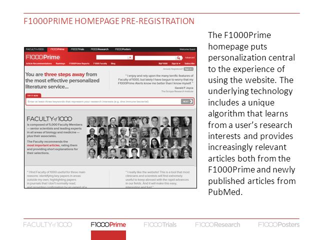 The F1000Prime homepage puts personalization central to the experience of using the website.