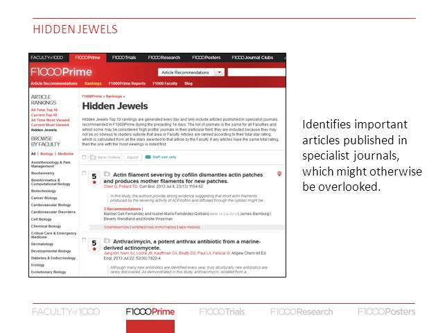 HIDDEN JEWELS Identifies important articles published in specialist journals, which might otherwise be overlooked.