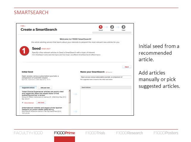 SMARTSEARCH Initial seed from a recommended article.
