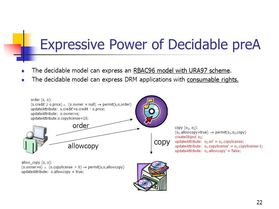 22 Expressive Power of Decidable preA RBAC96 model with URA97 scheme The decidable model can express an RBAC96 model with URA97 scheme.