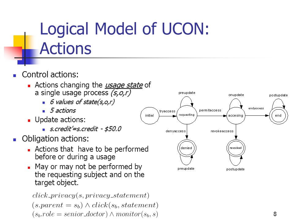 8 Logical Model of UCON: Actions Control actions: usage state (s,o,r) Actions changing the usage state of a single usage process (s,o,r) 6 values of state(s,o,r) 6 values of state(s,o,r) 5 actions 5 actions Update actions: s.credit=s.credit - $50.0 s.credit=s.credit - $50.0 Obligation actions: Actions that have to be performed before or during a usage May or may not be performed by the requesting subject and on the target object.