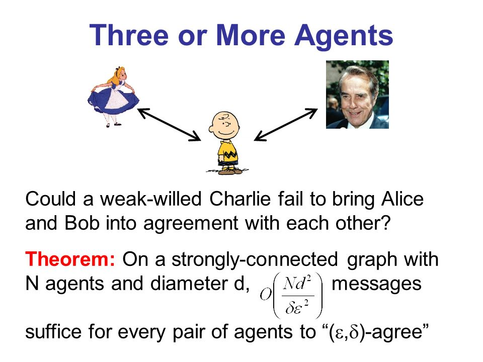 Three or More Agents Could a weak-willed Charlie fail to bring Alice and Bob into agreement with each other.