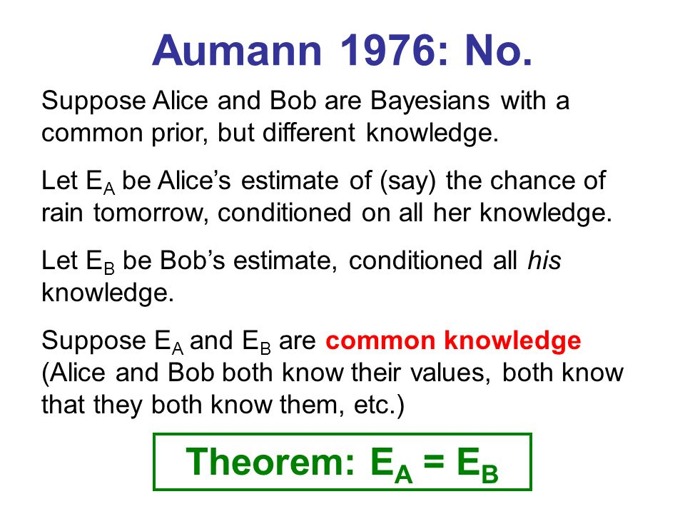 Aumann 1976: No. Suppose Alice and Bob are Bayesians with a common prior, but different knowledge.