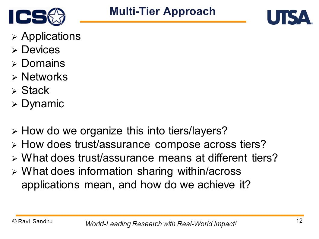 12 Multi-Tier Approach Applications Devices Domains Networks Stack Dynamic How do we organize this into tiers/layers.