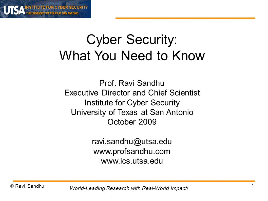 INSTITUTE FOR CYBER SECURITY 1 Cyber Security: What You Need to Know Prof.