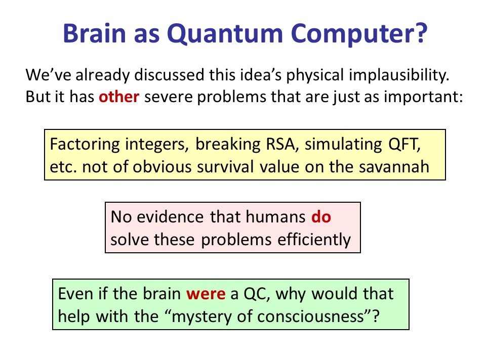 Brain as Quantum Computer. Weve already discussed this ideas physical implausibility.