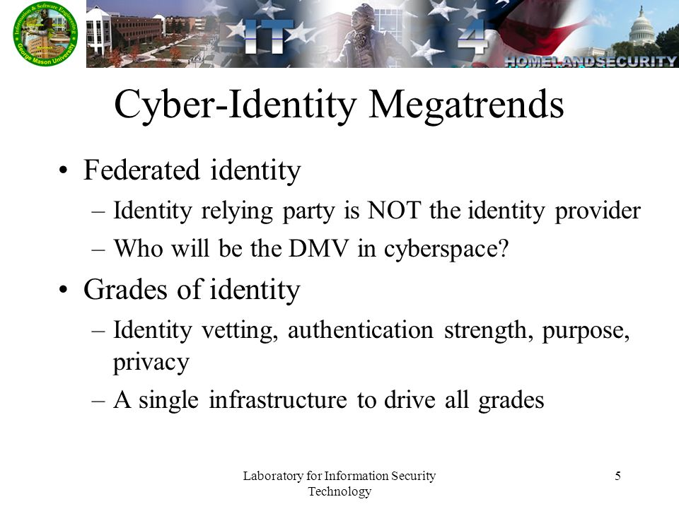 Laboratory for Information Security Technology 5 Cyber-Identity Megatrends Federated identity –Identity relying party is NOT the identity provider –Who will be the DMV in cyberspace.