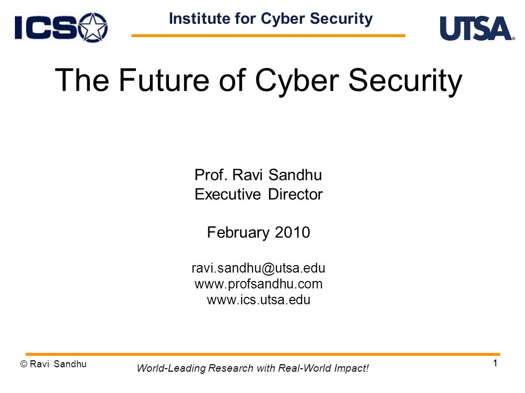 1 The Future of Cyber Security Prof.