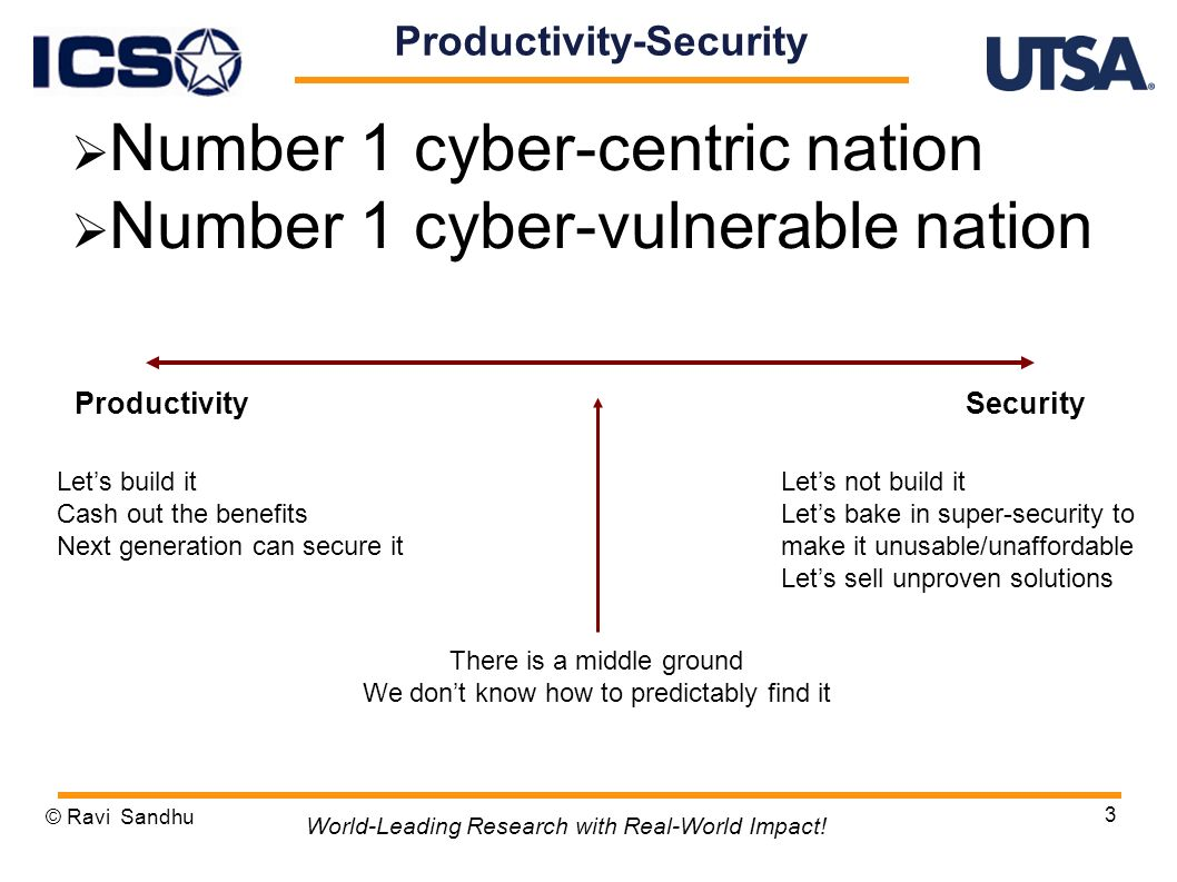 Productivity-Security Number 1 cyber-centric nation Number 1 cyber-vulnerable nation © Ravi Sandhu 3 World-Leading Research with Real-World Impact.