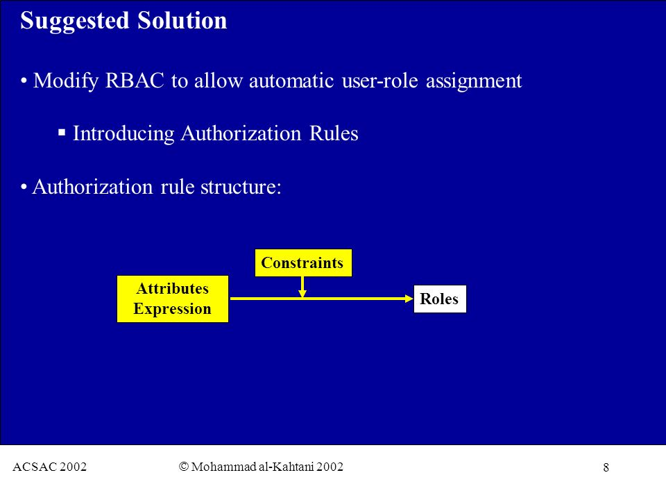 8 ACSAC 2002 © Mohammad al-Kahtani 2002 Suggested Solution Modify RBAC to allow automatic user-role assignment Introducing Authorization Rules Authorization rule structure: Constraints Attributes Expression Roles