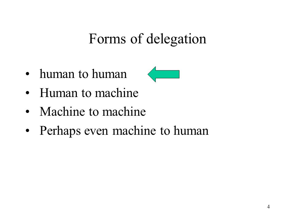 4 Forms of delegation human to human Human to machine Machine to machine Perhaps even machine to human
