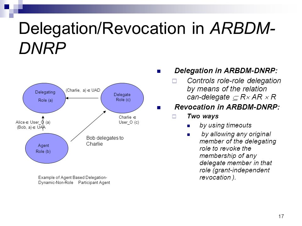 Delegation/Revocation in ARBDM- DNRP Delegation in ARBDM-DNRP: Controls role-role delegation by means of the relation can-delegate R AR R Revocation in ARBDM-DNRP: Two ways by using timeouts by allowing any original member of the delegating role to revoke the membership of any delegate member in that role (grant-independent revocation ).