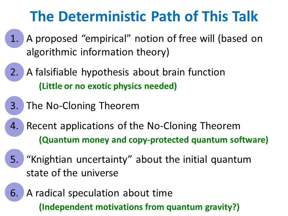 The Deterministic Path of This Talk 1.A proposed empirical notion of free will (based on algorithmic information theory) 2.A falsifiable hypothesis about brain function (Little or no exotic physics needed) 3.The No-Cloning Theorem 4.Recent applications of the No-Cloning Theorem (Quantum money and copy-protected quantum software) 5.Knightian uncertainty about the initial quantum state of the universe 6.A radical speculation about time (Independent motivations from quantum gravity )