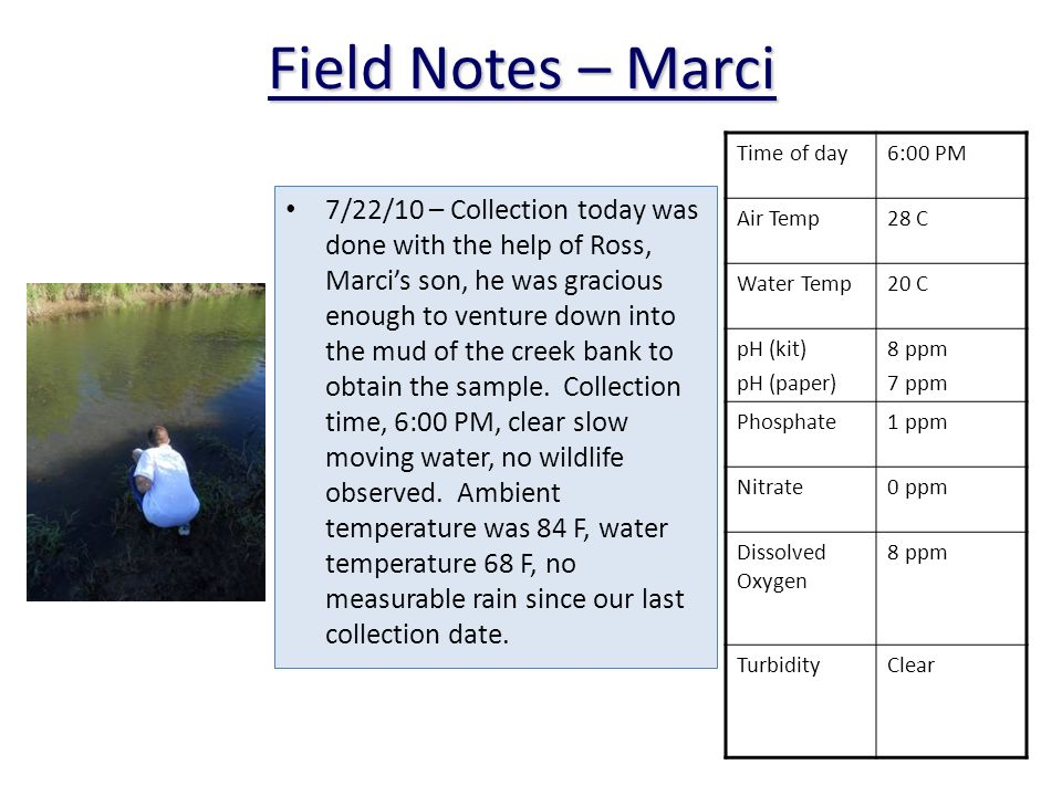 7/22/10 – Collection today was done with the help of Ross, Marcis son, he was gracious enough to venture down into the mud of the creek bank to obtain the sample.