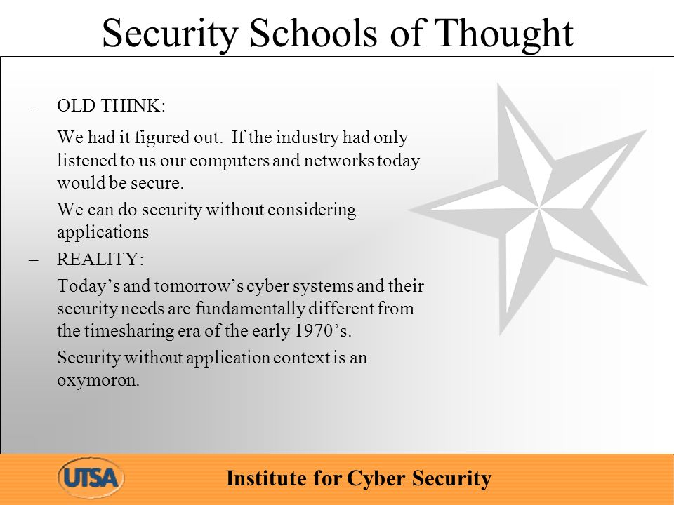 Institute for Cyber Security Security Schools of Thought –OLD THINK: We had it figured out.