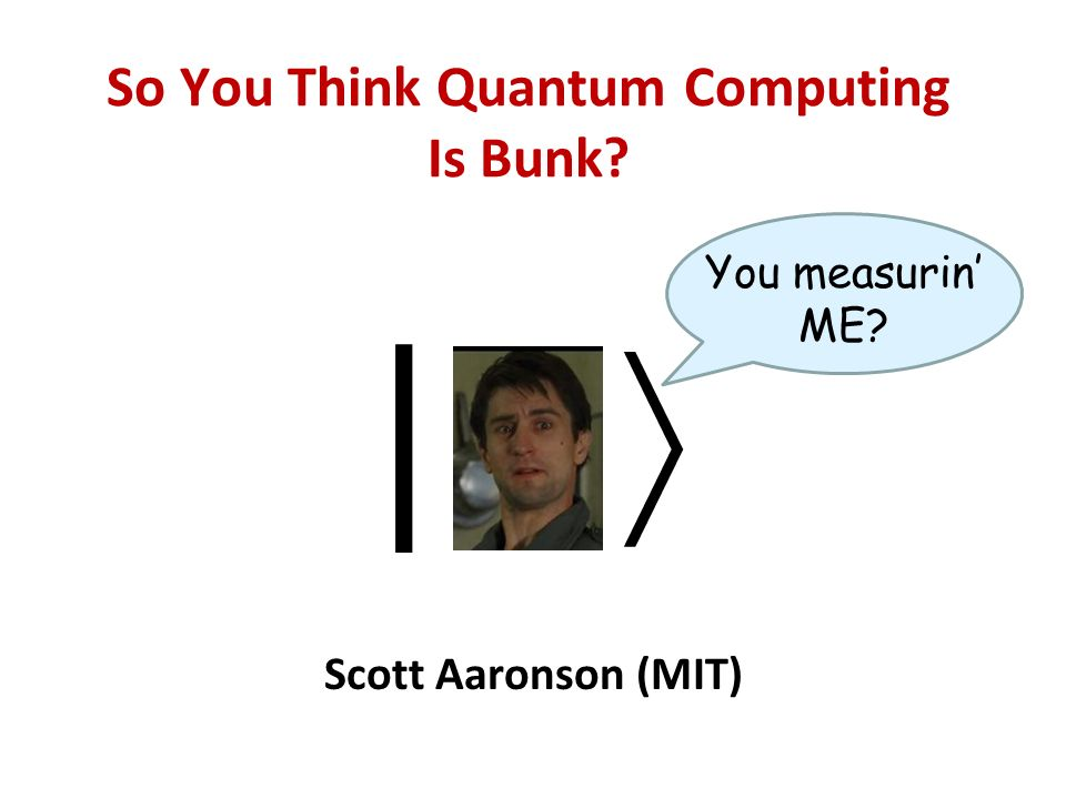 So You Think Quantum Computing Is Bunk Scott Aaronson (MIT) | You measurin ME