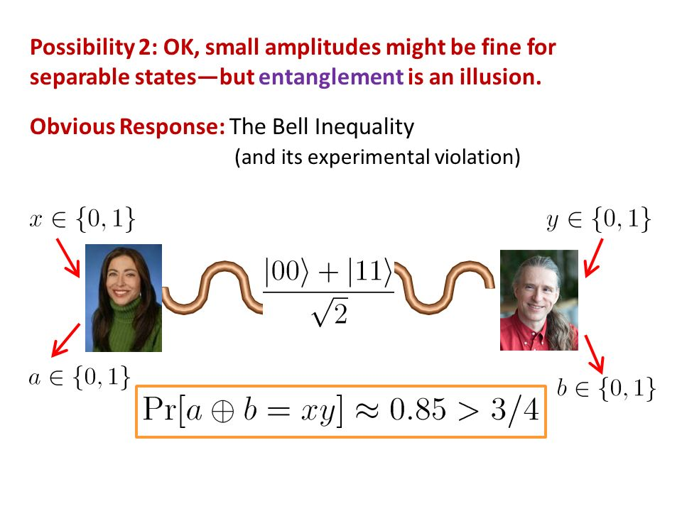 Possibility 2: OK, small amplitudes might be fine for separable statesbut entanglement is an illusion.