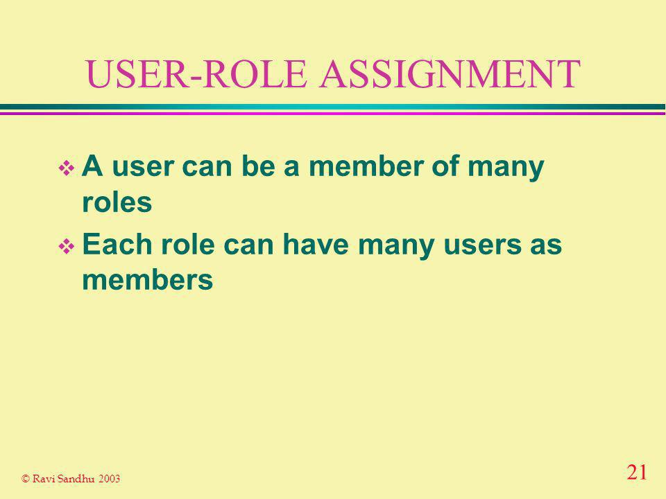 21 © Ravi Sandhu 2003 USER-ROLE ASSIGNMENT A user can be a member of many roles Each role can have many users as members