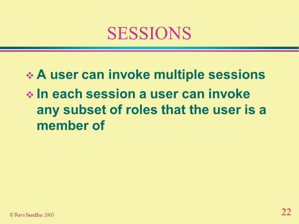 22 © Ravi Sandhu 2003 SESSIONS A user can invoke multiple sessions In each session a user can invoke any subset of roles that the user is a member of