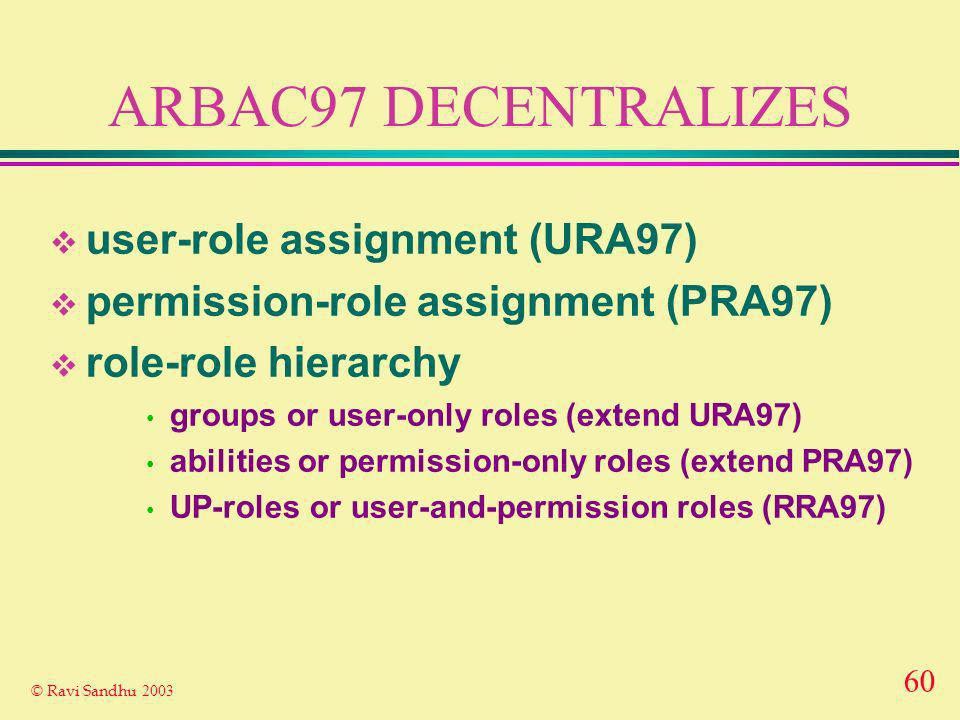 60 © Ravi Sandhu 2003 ARBAC97 DECENTRALIZES user-role assignment (URA97) permission-role assignment (PRA97) role-role hierarchy groups or user-only roles (extend URA97) abilities or permission-only roles (extend PRA97) UP-roles or user-and-permission roles (RRA97)