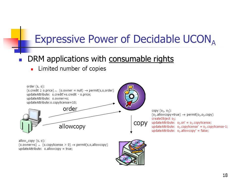 18 Expressive Power of Decidable UCON A consumable rights DRM applications with consumable rights Limited number of copies order (s, o): (s.credit o.price) (o.owner = null) permit(s,o,order) updateAttribute: s.credit =s.credit - o.price; updateAttribute: o.owner=s; updateAttribute:o.copylicense=10; order allow_copy (s, o): (o.owner=s) (o.copylicense > 0) permit(s,o,allowcopy) updateAttribute: o.allowcopy = true; allowcopy copy (o 1, o 2 ): (o 1.allowcopy=true) permit(o 1,o 2,copy) createObject o 2 ; updateAttribute: o 2.sn = o 1.copylicense; updateAttribute: o 1.copylicense = o 1.copylicense-1; updateAttribute: o 1.allowcopy = false; copy