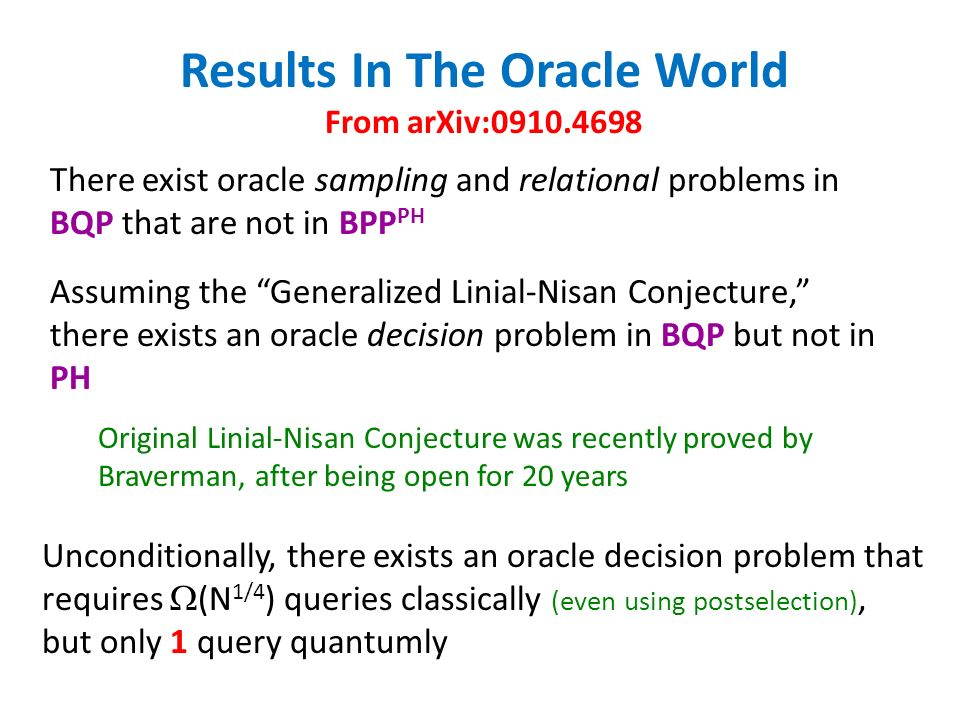 There exist oracle sampling and relational problems in BQP that are not in BPP PH Unconditionally, there exists an oracle decision problem that requires (N 1/4 ) queries classically (even using postselection), but only 1 query quantumly Results In The Oracle World From arXiv: Assuming the Generalized Linial-Nisan Conjecture, there exists an oracle decision problem in BQP but not in PH Original Linial-Nisan Conjecture was recently proved by Braverman, after being open for 20 years