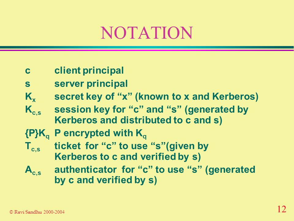12 © Ravi Sandhu NOTATION cclient principal sserver principal K x secret key of x (known to x and Kerberos) K c,s session key for c and s (generated by Kerberos and distributed to c and s) {P}K q P encrypted with K q T c,s ticket for c to use s(given by Kerberos to c and verified by s) A c,s authenticator for c to use s (generated by c and verified by s)