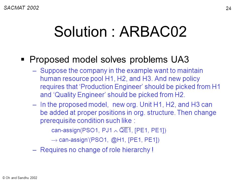24 SACMAT 2002 © Oh and Sandhu 2002 Solution : ARBAC02 Proposed model solves problems UA3 –Suppose the company in the example want to maintain human resource pool H1, H2, and H3.