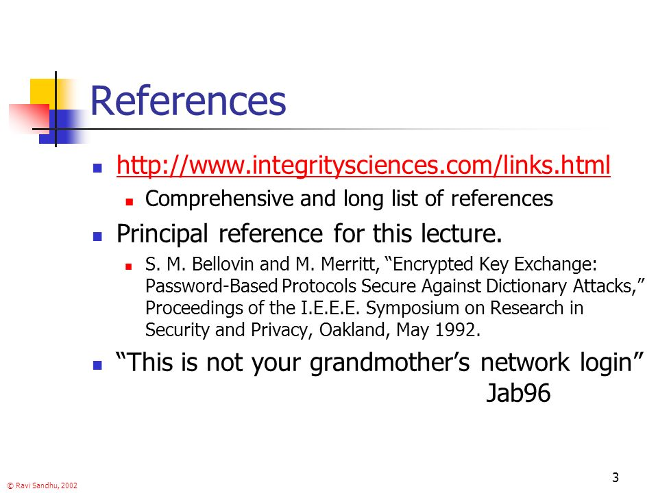 © Ravi Sandhu, References   Comprehensive and long list of references Principal reference for this lecture.