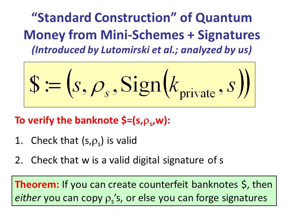 Standard Construction of Quantum Money from Mini-Schemes + Signatures (Introduced by Lutomirski et al.; analyzed by us) Theorem: If you can create counterfeit banknotes $, then either you can copy ss, or else you can forge signatures To verify the banknote $=(s, s,w): 1.Check that (s, s ) is valid 2.Check that w is a valid digital signature of s