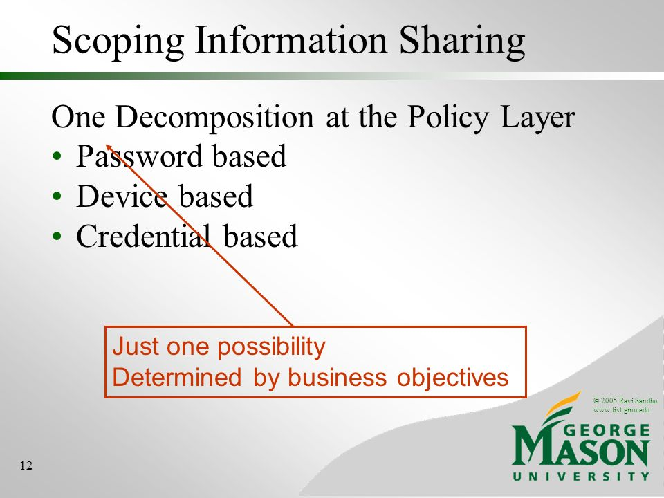 © 2005 Ravi Sandhu www.list.gmu.edu 12 Scoping Information Sharing One Decomposition at the Policy Layer Password based Device based Credential based Just one possibility Determined by business objectives