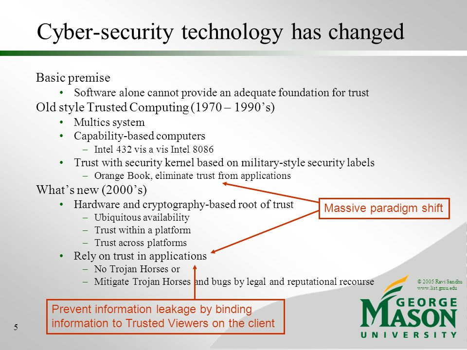 © 2005 Ravi Sandhu www.list.gmu.edu 5 Basic premise Software alone cannot provide an adequate foundation for trust Old style Trusted Computing (1970 – 1990s) Multics system Capability-based computers –Intel 432 vis a vis Intel 8086 Trust with security kernel based on military-style security labels –Orange Book, eliminate trust from applications Whats new (2000s) Hardware and cryptography-based root of trust –Ubiquitous availability –Trust within a platform –Trust across platforms Rely on trust in applications –No Trojan Horses or –Mitigate Trojan Horses and bugs by legal and reputational recourse Cyber-security technology has changed Massive paradigm shift Prevent information leakage by binding information to Trusted Viewers on the client