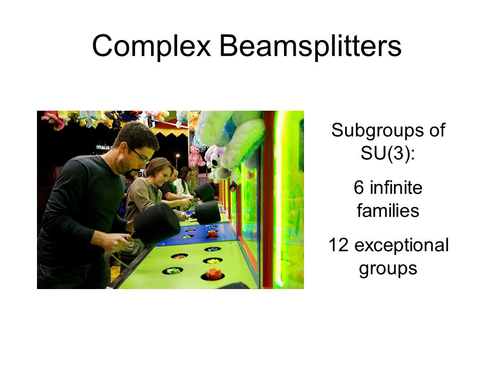 Complex Beamsplitters Subgroups of SU(3): 6 infinite families 12 exceptional groups