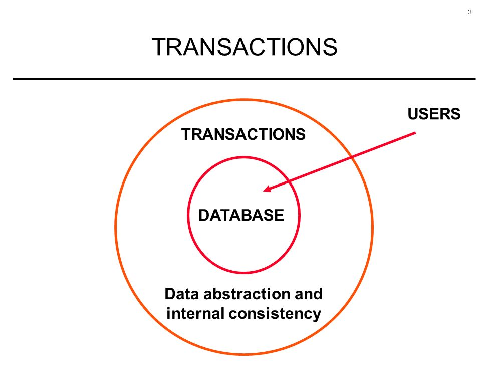 3 TRANSACTIONS DATABASE TRANSACTIONS Data abstraction and internal consistency USERS