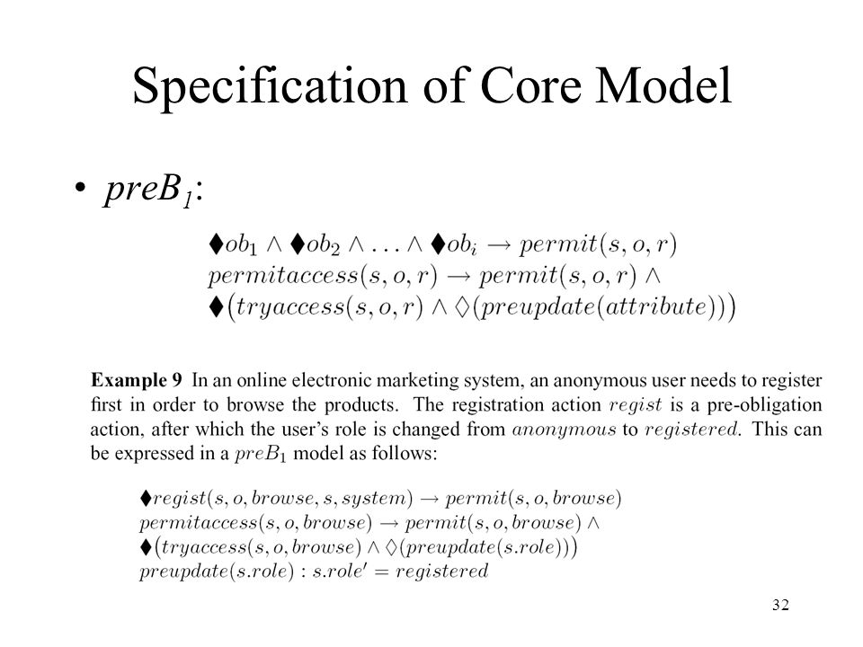 32 Specification of Core Model preB 1 :