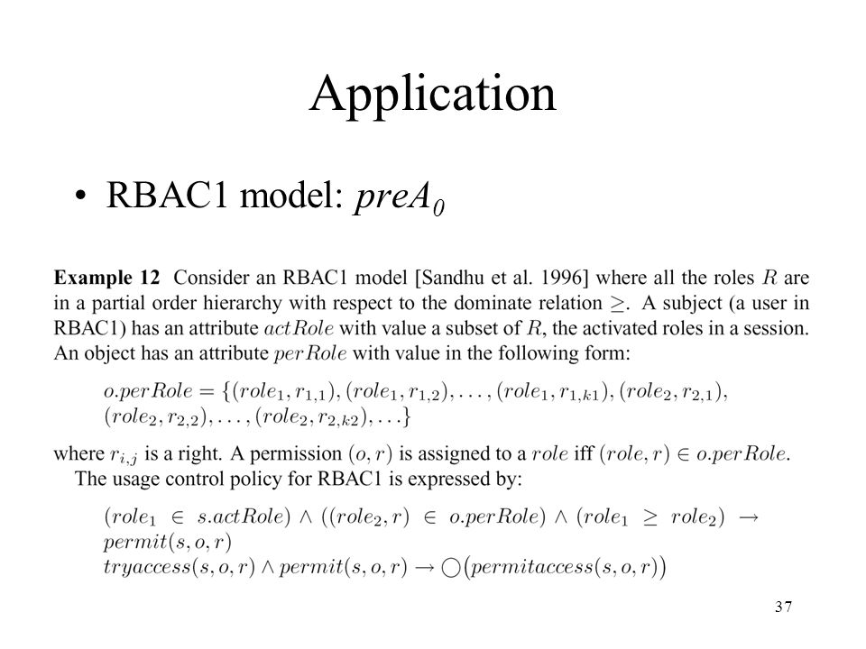 37 Application RBAC1 model: preA 0