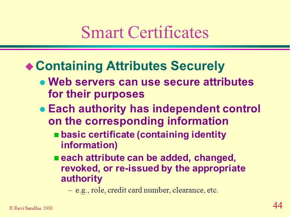 44 © Ravi Sandhu 2000 Smart Certificates u Containing Attributes Securely l Web servers can use secure attributes for their purposes l Each authority has independent control on the corresponding information n basic certificate (containing identity information) n each attribute can be added, changed, revoked, or re-issued by the appropriate authority –e.g., role, credit card number, clearance, etc.