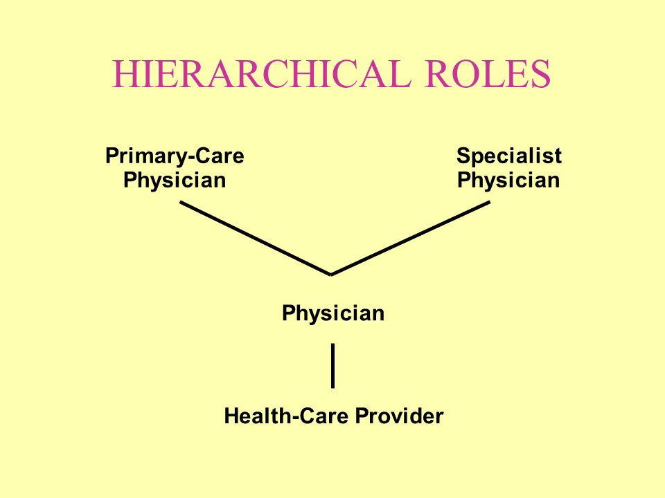 HIERARCHICAL ROLES Health-Care Provider Physician Primary-Care Physician Specialist Physician