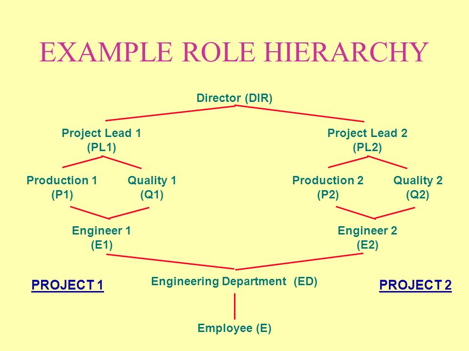 EXAMPLE ROLE HIERARCHY Employee (E) Engineering Department (ED) Project Lead 1 (PL1) Engineer 1 (E1) Production 1 (P1) Quality 1 (Q1) Director (DIR) Project Lead 2 (PL2) Engineer 2 (E2) Production 2 (P2) Quality 2 (Q2) PROJECT 2PROJECT 1