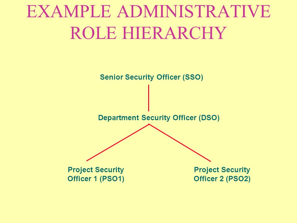 EXAMPLE ADMINISTRATIVE ROLE HIERARCHY Senior Security Officer (SSO) Department Security Officer (DSO) Project Security Officer 1 (PSO1) Project Security Officer 2 (PSO2)