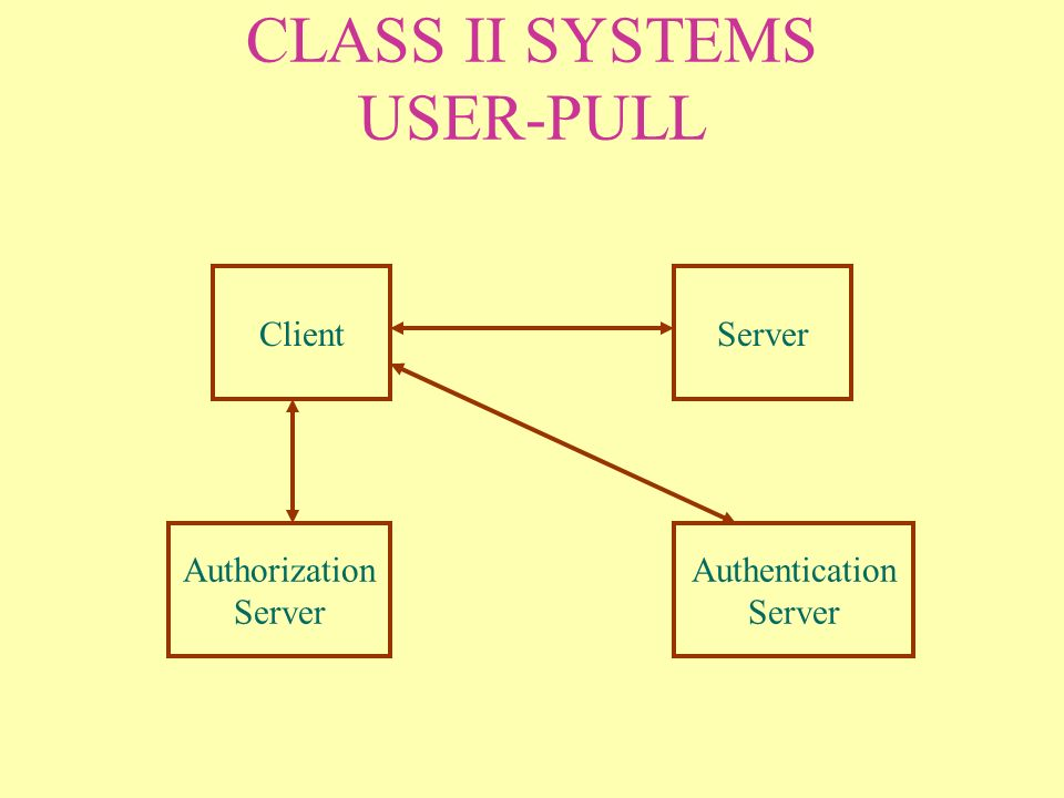 CLASS II SYSTEMS USER-PULL ClientServer Authorization Server Authentication Server