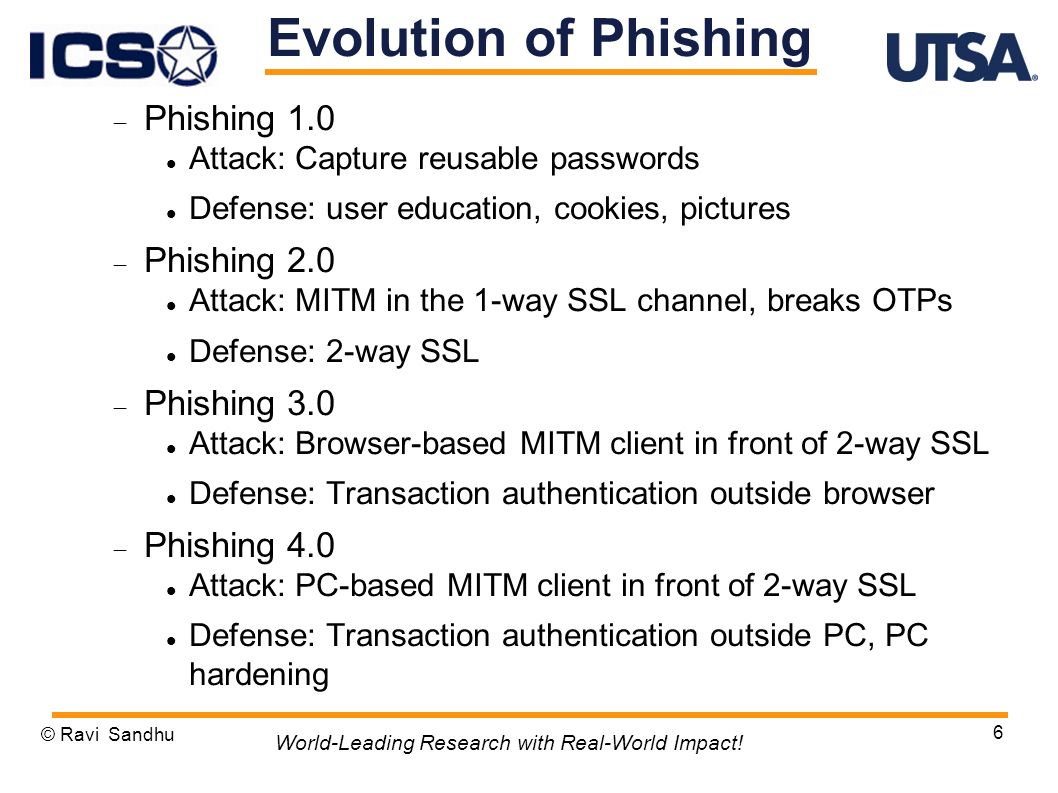 Phishing 1.0 Attack: Capture reusable passwords Defense: user education, cookies, pictures Phishing 2.0 Attack: MITM in the 1-way SSL channel, breaks OTPs Defense: 2-way SSL Phishing 3.0 Attack: Browser-based MITM client in front of 2-way SSL Defense: Transaction authentication outside browser Phishing 4.0 Attack: PC-based MITM client in front of 2-way SSL Defense: Transaction authentication outside PC, PC hardening © Ravi Sandhu 6 World-Leading Research with Real-World Impact.