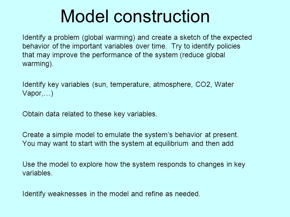 Model construction Identify a problem (global warming) and create a sketch of the expected behavior of the important variables over time.