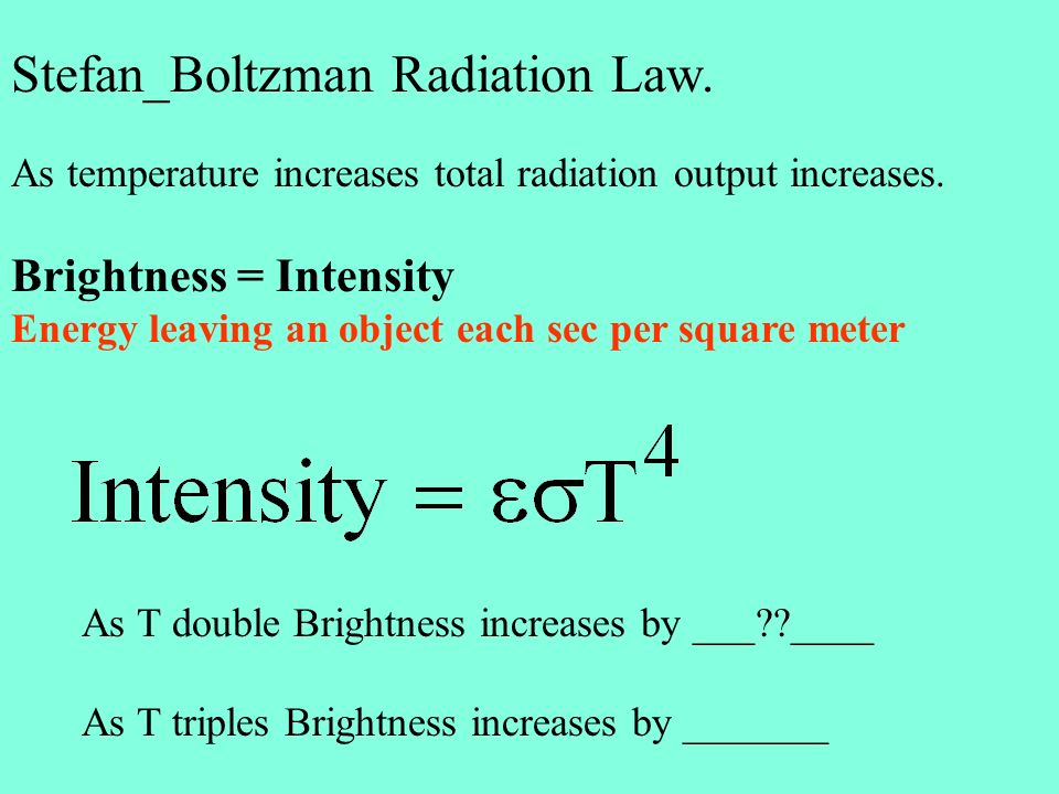 Stefan_Boltzman Radiation Law. As temperature increases total radiation output increases.