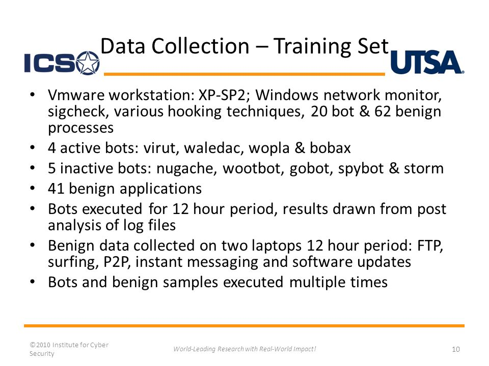 Data Collection – Training Set Vmware workstation: XP-SP2; Windows network monitor, sigcheck, various hooking techniques, 20 bot & 62 benign processes 4 active bots: virut, waledac, wopla & bobax 5 inactive bots: nugache, wootbot, gobot, spybot & storm 41 benign applications Bots executed for 12 hour period, results drawn from post analysis of log files Benign data collected on two laptops 12 hour period: FTP, surfing, P2P, instant messaging and software updates Bots and benign samples executed multiple times ©2010 Institute for Cyber Security 10 World-Leading Research with Real-World Impact!