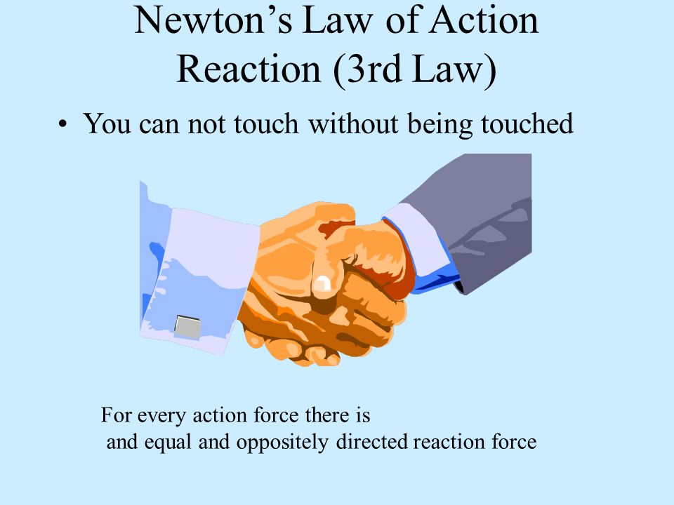 Newtons Law of Action Reaction (3rd Law) You can not touch without being touched For every action force there is and equal and oppositely directed reaction force