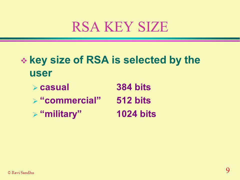 9 © Ravi Sandhu RSA KEY SIZE key size of RSA is selected by the user casual384 bits commercial512 bits military1024 bits