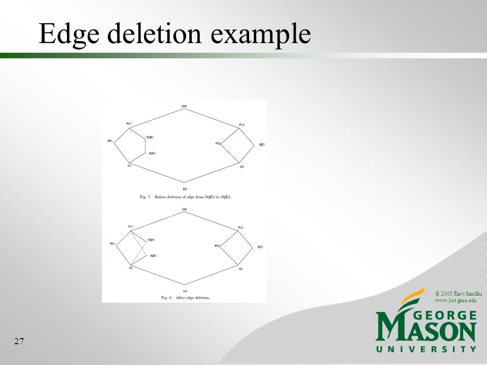 © 2005 Ravi Sandhu www.list.gmu.edu 27 Edge deletion example